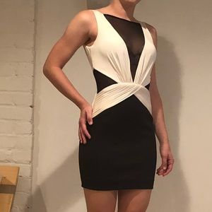 Bebe black and white mesh v-neck dress